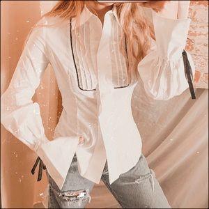 Fashion nova cardi b pleated button up peasant top